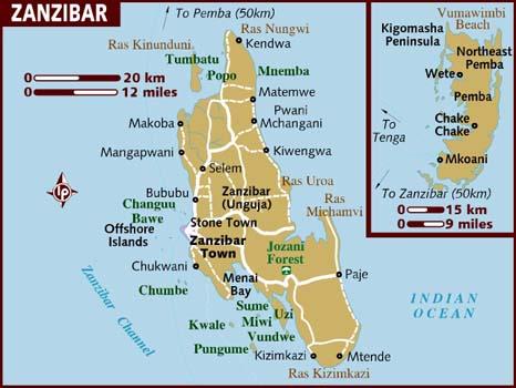 Mapa da ilha de Zanzibar